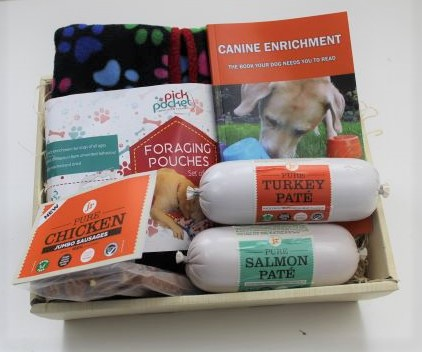Canine enrichment book foraging poouch hamper